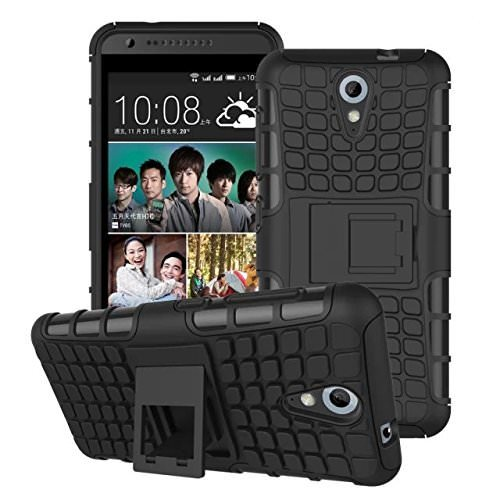 Delkart HTC Desire 620/ HTC Desire 620G/ HTC Desire 620G Dual Sim Compatible Hybrid Military Grade Dual Armor Kick Stand Back Cover (Black)