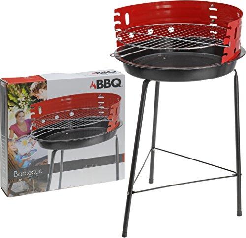 Barbecue a carbonella con griglia, struttura rotonda indipendente, diametro 33 cm, per esterni, campeggio e picnic