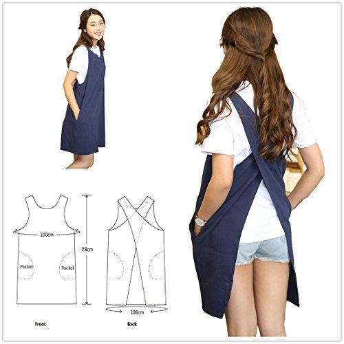 Delantal lino algodón suave color sólido diseño