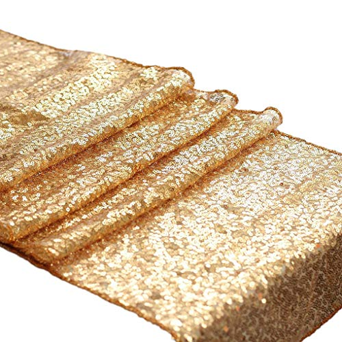 lletten Glitter Flag Hochzeit Geburtstag Babyparty Tischläufer Tischdecke Champagner Gold 30 * 180cm ()