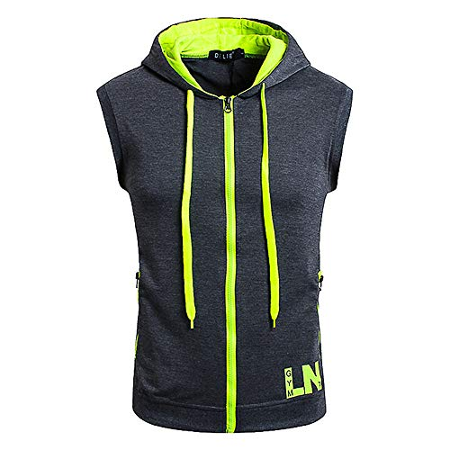 0a9d12536d31 SALEBLOUSE Mens Sleeveless Hoodie Zip Up Sweatshirt Tank Top Hooded  Lightweight Tunic Tops Hooded Tops for Men Solid Color Blouse Fitness  Workout T ...