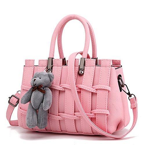 Donna Borse A Mano In Pelle Tracolla Spalla Piccola Borsetta Elegante rosa rosa