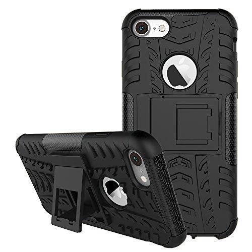 DBIT iPhone 7 / iPhone 8 Custodia, Alta qualità Durevole TPU/PC Custodia protettivo Armatura Case con cavalletto per iPhone 7 / iPhone 8,Arancione Nero
