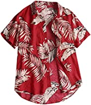 Men's Beach Short Sleeve Shirt Hawaiian Blouse Casual Tee Floral Printed Button Down