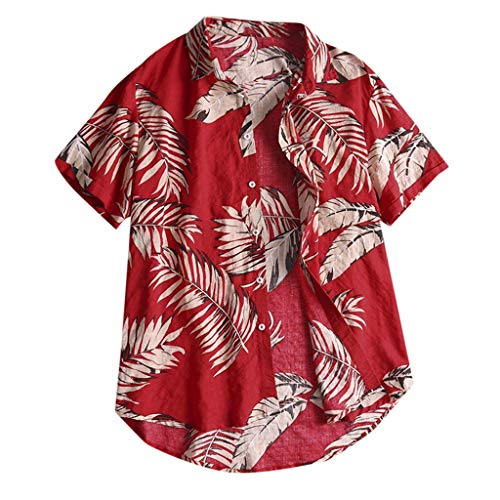 rren Beiläufig Button Print Hawaii Print Shirt Strand Kurzarm Top Bluse(XX-Large,Rot) ()