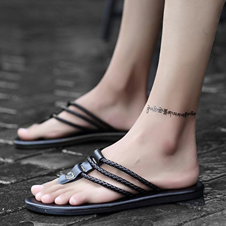 ZHANGJIA Nuevo Tipo Flip Flops, Personalized Toe Zapatillas, Moda Calzado De Playa, La Juventud Sandalias,43,Negro