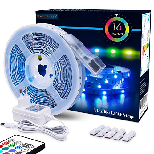 LED Strip RGB 5m LED Licht Streifen SMD 5050 Leds mit Netzteil, Fernbedienung Led stripes Lichtband Leiste Band Beleuchtung,MEHRWEG -