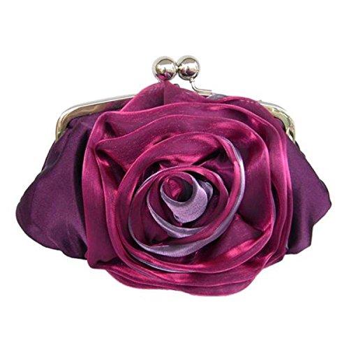 Signora Borsa Da Sera Moda Seta Fiore Rosa Borsa Borsa Nuova Borsa A Tracolla Fibbia Magnetica Purple