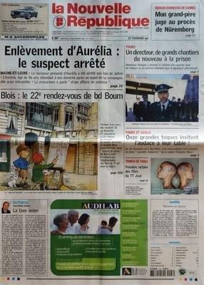 NOUVELLE REPUBLIQUE (LA) N? 18561 du 23-11-2005 RENAUD DONNEDIEU DE VABRES - MON GRAND-PERE JUGE AU PROCES DE NUREMBERG - ENLEVEMENT D'AURELIA - LE SUSPECT ARRETE - BLOIS - LE 22E RENDEZ-VOUS DE BD BOUM - EDITORIAL - JEAN-CLAUDE ARBONA - LA TAXE AVION - TOURS - UN DIRECTEUR DE GRANDS CHANTIERS DU NOUVEAU A LA PRISON - TOURS ET AGGLO - ONZE GRANDES TOQUES INVITENT L'AUDACE A LEUR TABLE - TENNIS DE TABLE - PREMIERE VICTOIRE DES FILLES DU TT JOUE - CANDIDE - MARIANNE EST BLANCHE - SOMMAIRE - LE ... par Collectif