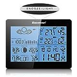 Excelvan Funkwetterstation wetterstation Funk Wecker Thermometer Hygrometer LCD Wetterstation mit Präzisionsvorhersage Temperatur Feuchtigkeit Sunrise/Sunset Zeit Barometer inkl. Außensensor - 4