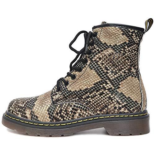 Vain Secrets Damen Army Schüren Boots Stiefeletten mit Profilsohle viele Farben (38 EU, Braun Snake) Snake Boots