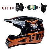 Yedina Motocross Helmet ATV Roller Offroad Helm D.O.T Zertifizierung, Geschenkhandschuhe Maskenbrille (S, M, L, XL),S
