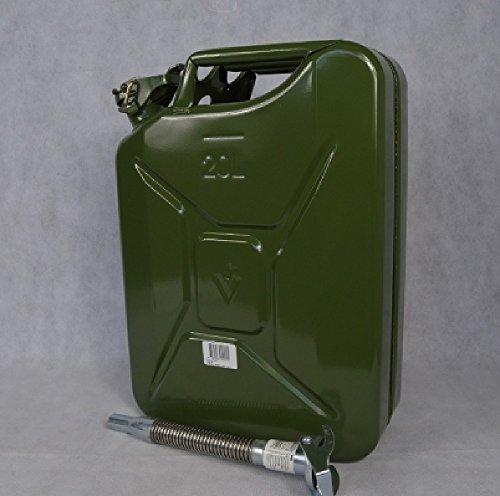 3 Stück Benzinkanister - Dieselkanister Metall 20 Liter Natogrün inclusive Ausgießer KFZ Tankstelle