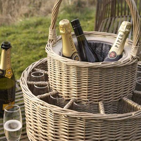 Wicker Garden Party Basket, Complete with 12 Wine Glasses