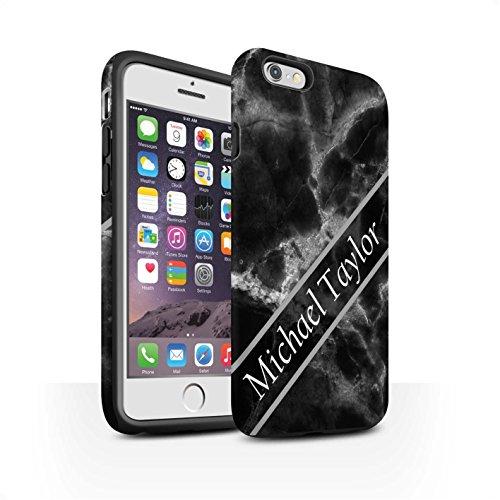 Personalisiert Individuell Marmor Matte Zähen Hülle für Apple iPhone 7 Plus / Mono Stempel Design / Initiale/Name/Text Stoßfest Schutzhülle/Case/Etui Mono Schärpe