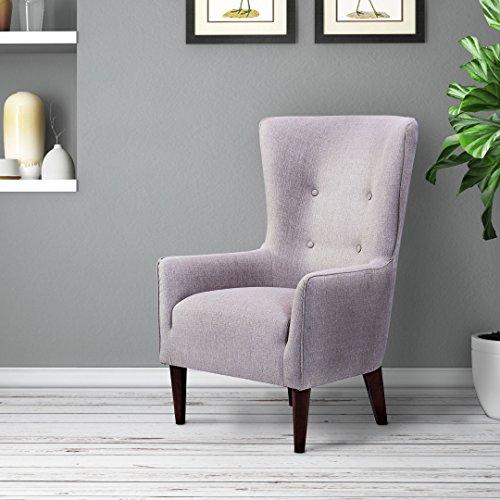 LF.Home Madonna Arm Chair (Walnut Finish, Raw Cotton)