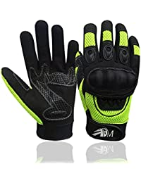 New Motorbike Riding Gloves Full Finger Motorcycle Sports Mountain Bike Protection Summer Gloves Black-Fluorescent 9001