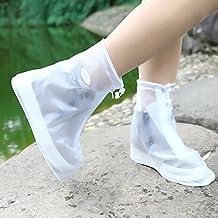 LanLan Reusable Wear-resistant Slip-Resistant Waterproof Shoes Rain Snow Boots Overshoes Covers for Men & Women White L