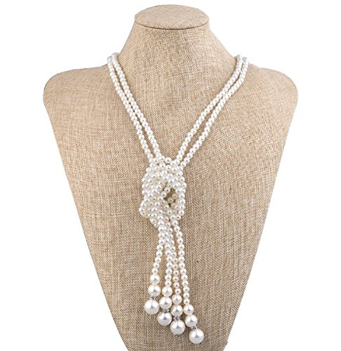 BigLion Long Faux Pearl Bead Necklace 1920s Great Gatsby Accessories Artificial Gemstone Pearls Cluster Necklaces for Women 9D1zX