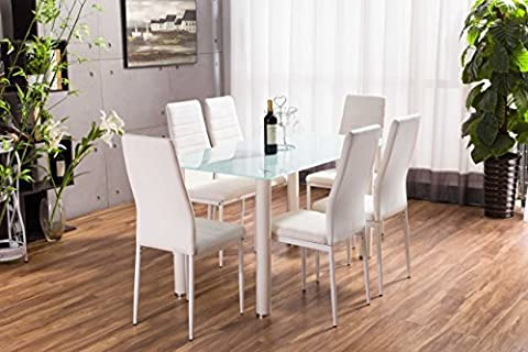 Lunar Rectangle Glass Dining Table Set and 6 White Faux Leather Chairs Seats