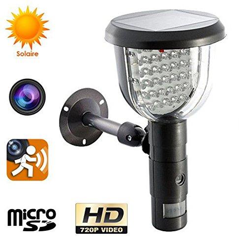 Lampe solaire caméra espion détection mouvement surveillance extérieur