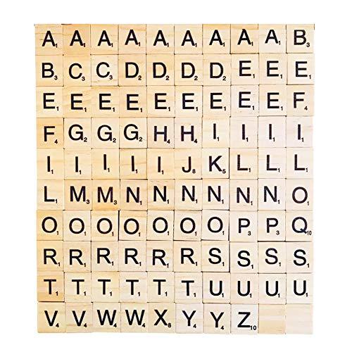 Honey MoMo Scrabble Fliesen , 100 Teile / Satz Holz Scrabble Fliesen Alphabete Buchstaben Handwerk P?dagogische Kinder Spielzeug - 100 st¨¹cke