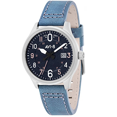 AVI-8 Men's Watch – Hawker Hurricane – Date – Steel Round Blue Dial Blue Leather Strap av-4053-0 °F