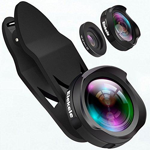 Elekele® Handy Objektiv lens, Handy Kamera Objektiv Clip-on mit 0.6X Weitwinkelobjektiv & 10X Makroobjektiv für iPhone und Android Smartphones