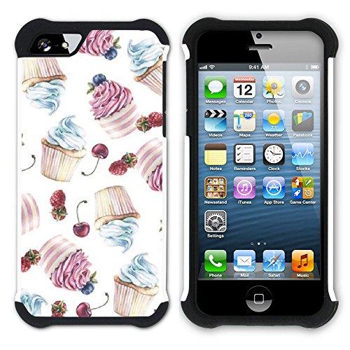 Graphic4You Cupcake Dessert Nachtisch Kuchen Hart + Weiche Kratzfeste Hülle Case Schale Tasche Schutzhülle für Apple iPhone SE / 5 / 5S Design #20