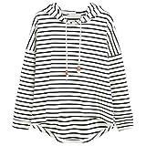 Binggong Sweatshirt, Damen Sweatshirt Streifen Lange Ärmel Mit Kapuze Pullover Lose Tops Bluse Kapuzenpullover (XL, Weiss)