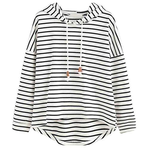 Binggong Sweatshirt, Damen Sweatshirt Streifen Lange Ärmel Mit Kapuze Pullover Lose Tops Bluse Kapuzenpullover (L, Weiss) (Top Streifen-pullover)