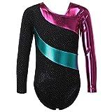 HUAANIUE meisjes metallic sparkle turnpakje lange mouwen gymnastiek turnpakje dansen kostuums 3-4Y zwart