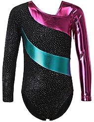 HUANQIUE Justaucorps de Gymnastique Danse Fille Leotard Combinaison Gym Esthétique Enfant 2-16 Ans