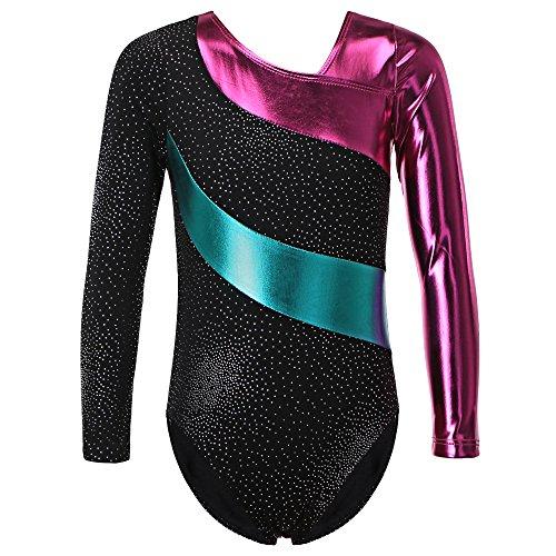 HUANQIUE Justaucorps de Gymnastique Danse Fille Leotard Combinaison Gym Esthétique Enfant Black 130