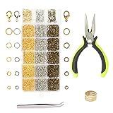 anillos salto abierto ZoomSky 2313pcs anillos para hacer collar de cadena de joya 4mm, 5mm, 6mm, 7mm, 8mm y broche de langosta 12mm y otro herramienta
