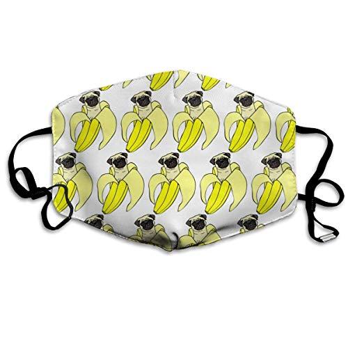 Funny&shirt Staubdicht, antiallergen, antiallergen, Ohrschlaufe, halbes Gesicht, Mund, Muffle, Klettern, Polyester, warme Maske, verstellbar, elastischer Riemen, witziger Pud Dog Banana Repeat weiß