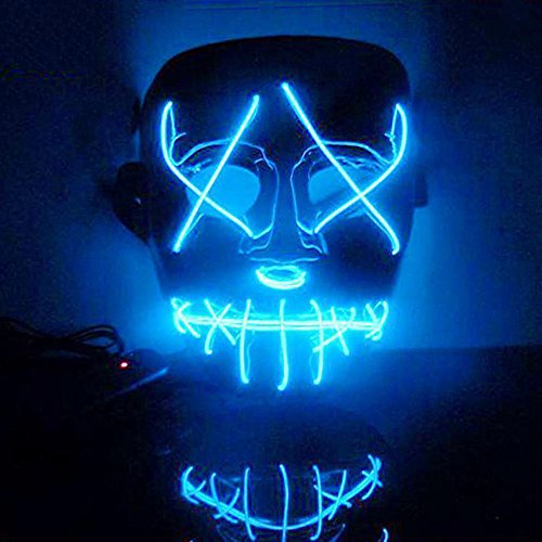 Zhen+ Halloween Masken Festival Party Cosplay Maske LED Leuchten Maske Karneval Maske Halloween Accessoires Grimasse Maske für Festival Party Cosplay in der Dunkelheit (Blau)