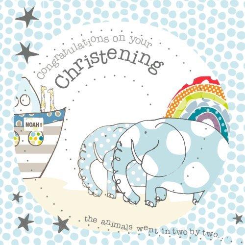 Inner Circle Blue Elephants and Noahs Ark Christening Card