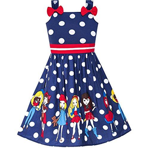 Mädchen Kleid Karikatur Marine Blau Punkt Bogen Binden Sommer Gr. 122 -