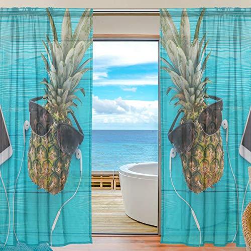 BONIPE Funny Ananas mit Brille Sheer Vorhang Voile Tüll Fenster Vorhang für Küche Schlafzimmer Wohnzimmer Home Decor, 139,7x 198,1cm, 2Platten Set, Polyester, Multi, 55x78x2(in)