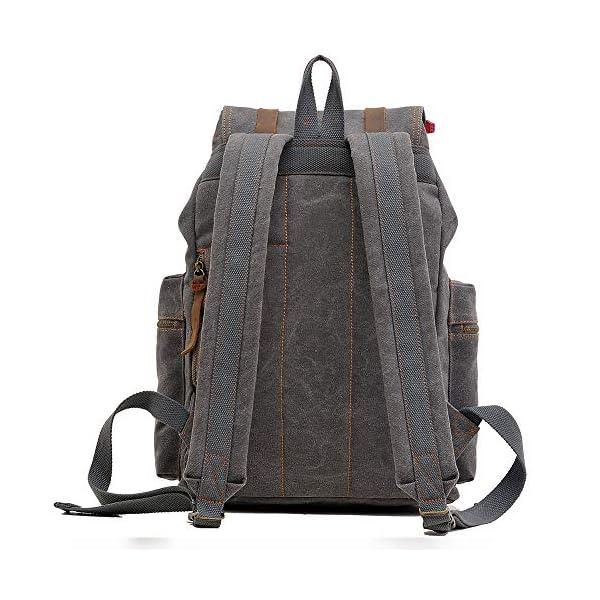 5137doJwLWL. SS600  - Vintage Mochila de Lona de Marcha Bolsa Escolar Uní Mochilas Sport para Hombres Mujer Casual Marrón Oscuro