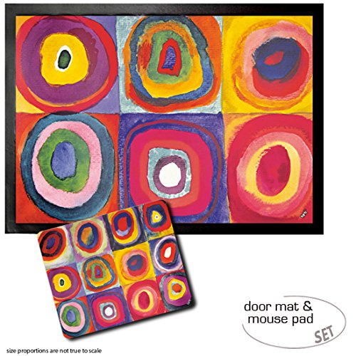 Kandinsky Kunst Poster (Set: 1 Fußmatte Türmatte (70x50 cm) + 1 Mauspad (23x19 cm) - Wassily Kandinsky, Farbstudie, Quadrate Mit Konzentrischen Ringen, 1913)