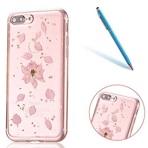 """iPhone 7Plus Schutzhülle, iPhone 7Plus Soft TPU Handytasche, CLTPY Modisch Durchsichtige Rückschale im Getrocknete Blumenart, [Stoßdämpfung] & [Kratzfeste] Full Body Case für 5.5"""" Apple iPhone 7Plus ( Floral 18"""