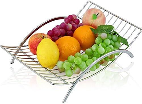 JXXDDQ Acciaio Inossidabile Rettangolare d'argentoo, Piatto di del Frutta Vuota del di canestro di Frutta con Una Maniglia 38  9.5  25.5cm Piatto di Frutta per la Festa a49618