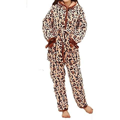 YUYU Signora peluche Tenere al caldo La manica lunga Pajamas
