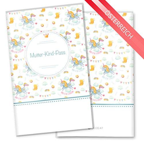 Preisvergleich Produktbild Mutter-Kind-Pass Hülle 3-teilig Unicorn Dreams Schwangerschaft Geschenkidee (MuKi-Pass Österreich ohne Personalisierung, Born to be a Unicorn)