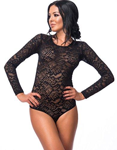 Evoni Damen-Body in Schwarz M=38 | Bodysuit mit Rundhals für Frauen | Langarm-Body aus Spitze in verschiedenen Farben mit Verschluss | reizvolle Damen-Wäsche mit optimaler Passform | Top Overall