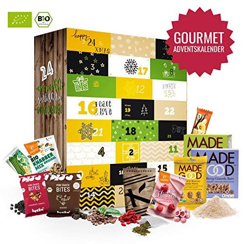 BIO Gourmet Advent-Kalender I Weihnachtskalender mit 24 kleine Feinkostartikel! Ausgefallener Adventskalender für Erwachsene Adventskalenderideen Geschenk für Männer Frauen