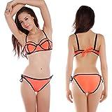 CLE DE TOUS - Sujetador de bikini preformado con aros push up + Braga de bikini de lazo Talla 38-40 Color Naranja (M (40))
