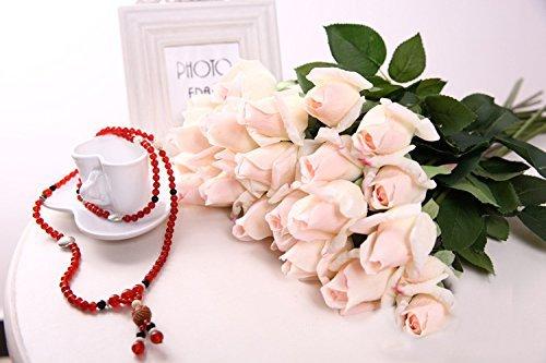 Butterme 5 Stück Real Touch Latex künstliche Rose Blumen Knospe Hochzeit Blumensträusse Rosen Brautstrauß Blumenstrauß künstlicher Rosenstrauß Valentinstag Geburtstag Weihnachtsgeschenk (Real Touch Blumen Brautstrauß)